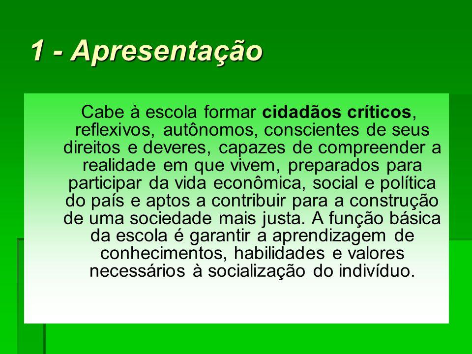 1 - Apresentação Cabe à escola formar cidadãos críticos, reflexivos, autônomos, conscientes de seus direitos e deveres, capazes de compreender a reali
