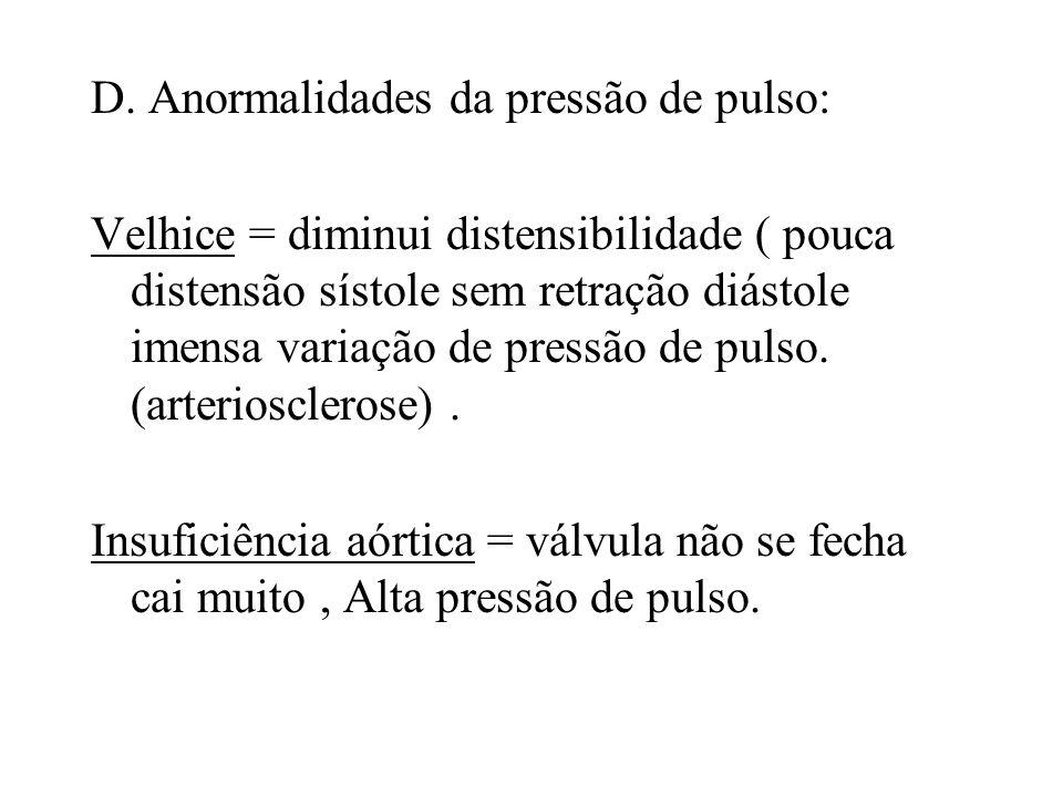 D. Anormalidades da pressão de pulso: Velhice = diminui distensibilidade ( pouca distensão sístole sem retração diástole imensa variação de pressão de