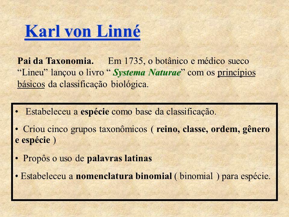 Karl von Linné Systema Naturae Pai da Taxonomia.