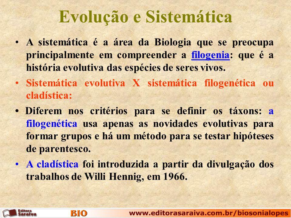 Evolução e Sistemática filogeniaA sistemática é a área da Biologia que se preocupa principalmente em compreender a filogenia: que é a história evolutiva das espécies de seres vivos.