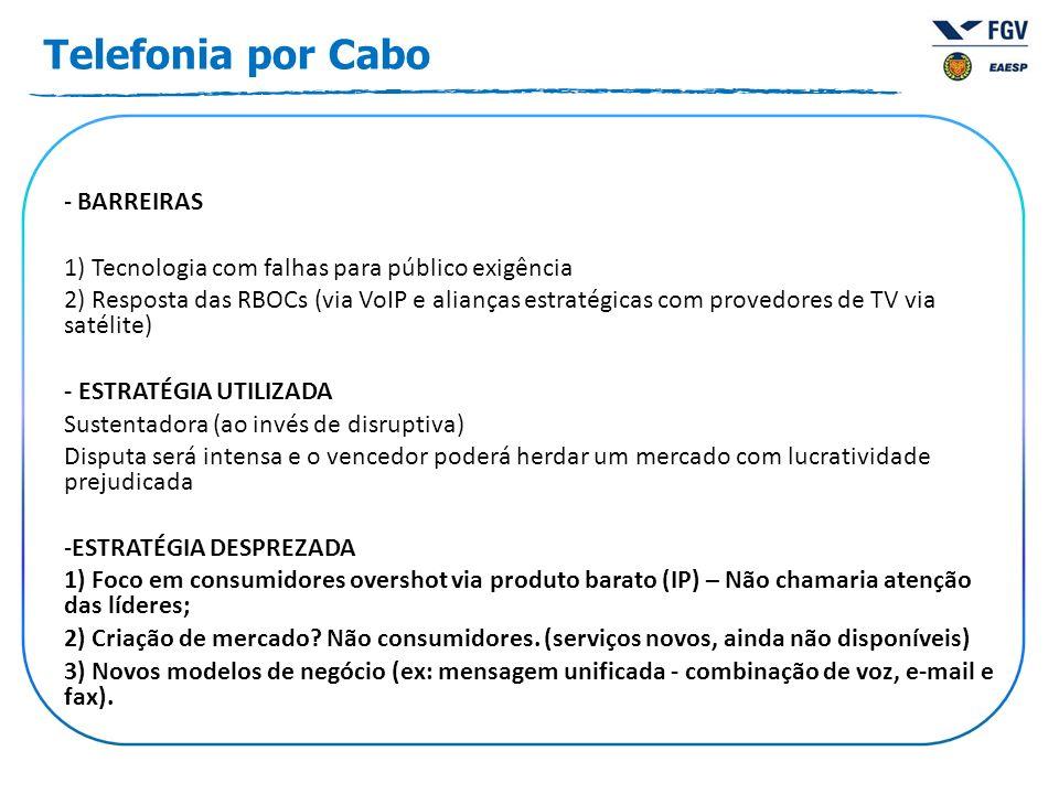 - BARREIRAS 1) Tecnologia com falhas para público exigência 2) Resposta das RBOCs (via VoIP e alianças estratégicas com provedores de TV via satélite)