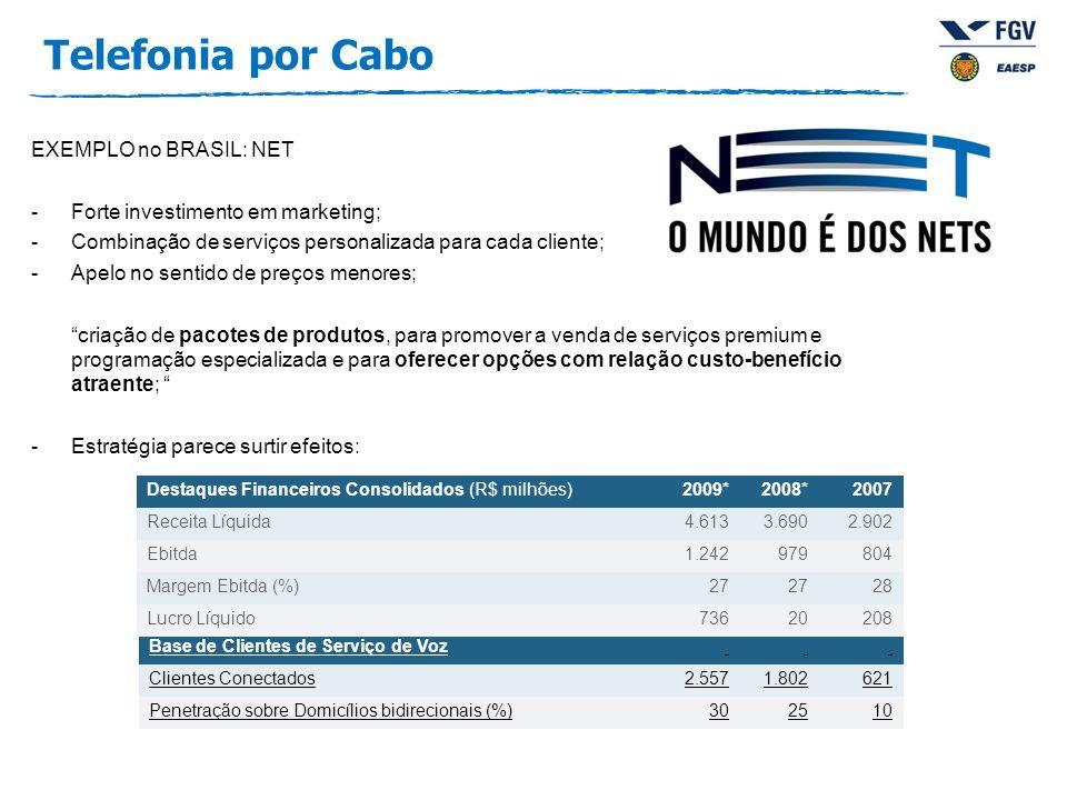 EXEMPLO no BRASIL: NET -Forte investimento em marketing; -Combinação de serviços personalizada para cada cliente; -Apelo no sentido de preços menores;