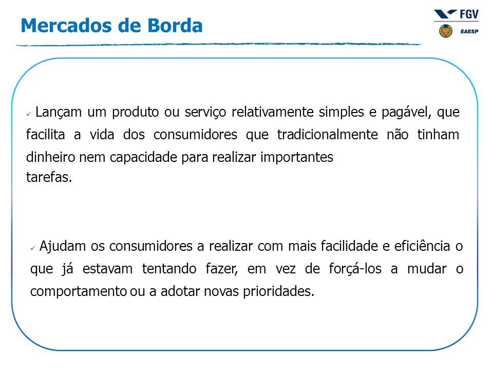Mercados de Borda Lançam um produto ou serviço relativamente simples e pagável, que facilita a vida dos consumidores que tradicionalmente não tinham d