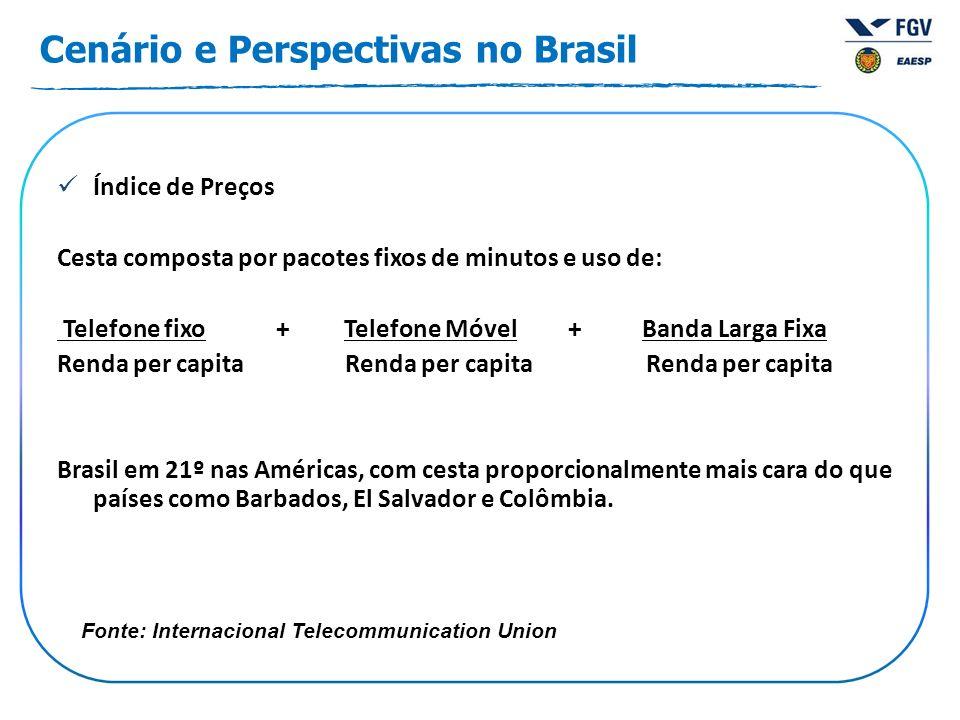 Cenário e Perspectivas no Brasil Índice de Preços Cesta composta por pacotes fixos de minutos e uso de: Telefone fixo + Telefone Móvel + Banda Larga F