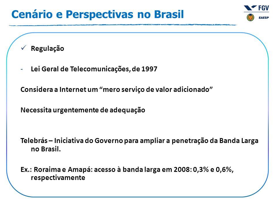 Cenário e Perspectivas no Brasil Regulação -Lei Geral de Telecomunicações, de 1997 Considera a Internet um mero serviço de valor adicionado Necessita