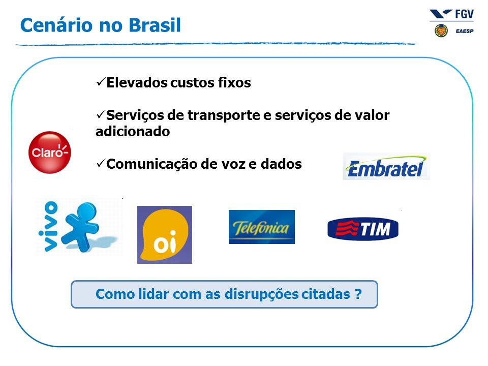 Cenário no Brasil Elevados custos fixos Serviços de transporte e serviços de valor adicionado Comunicação de voz e dados Como lidar com as disrupções