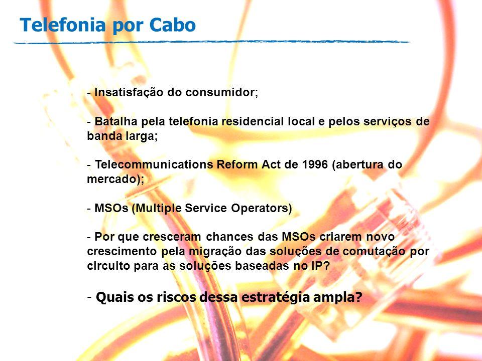 Telefonia por Cabo - Insatisfação do consumidor; - Batalha pela telefonia residencial local e pelos serviços de banda larga; - Telecommunications Refo