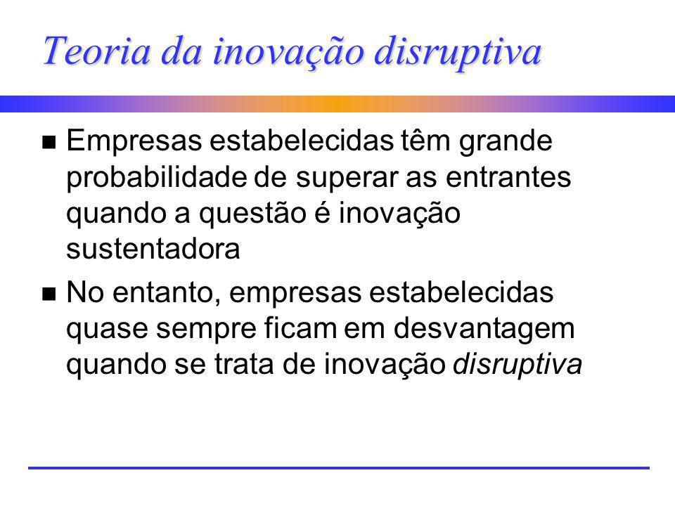 Teoria da inovação disruptiva n Empresas estabelecidas têm grande probabilidade de superar as entrantes quando a questão é inovação sustentadora n No