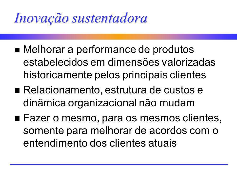 Inovação sustentadora n Melhorar a performance de produtos estabelecidos em dimensões valorizadas historicamente pelos principais clientes n Relaciona