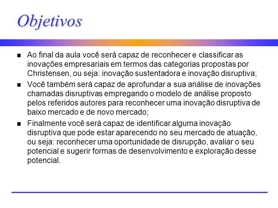 Objetivos n Ao final da aula você será capaz de reconhecer e classificar as inovações empresariais em termos das categorias propostas por Christensen,