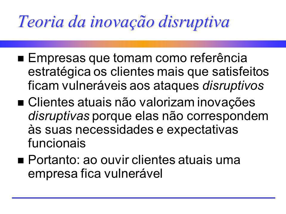 Teoria da inovação disruptiva n Empresas que tomam como referência estratégica os clientes mais que satisfeitos ficam vulneráveis aos ataques disrupti