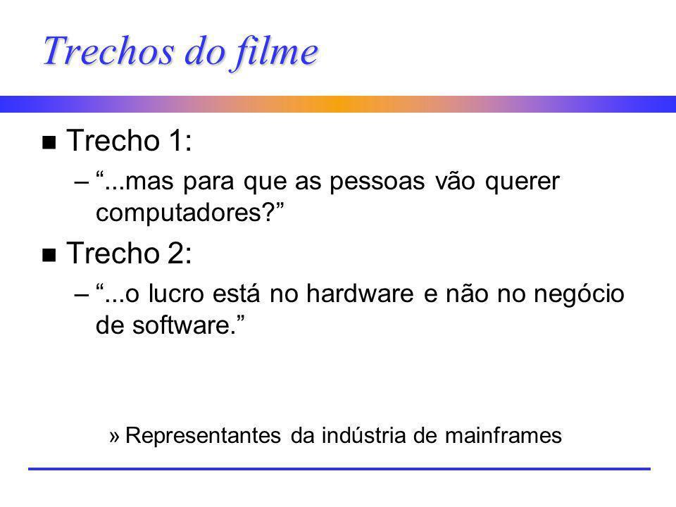 Trechos do filme n Trecho 1: –...mas para que as pessoas vão querer computadores? n Trecho 2: –...o lucro está no hardware e não no negócio de softwar