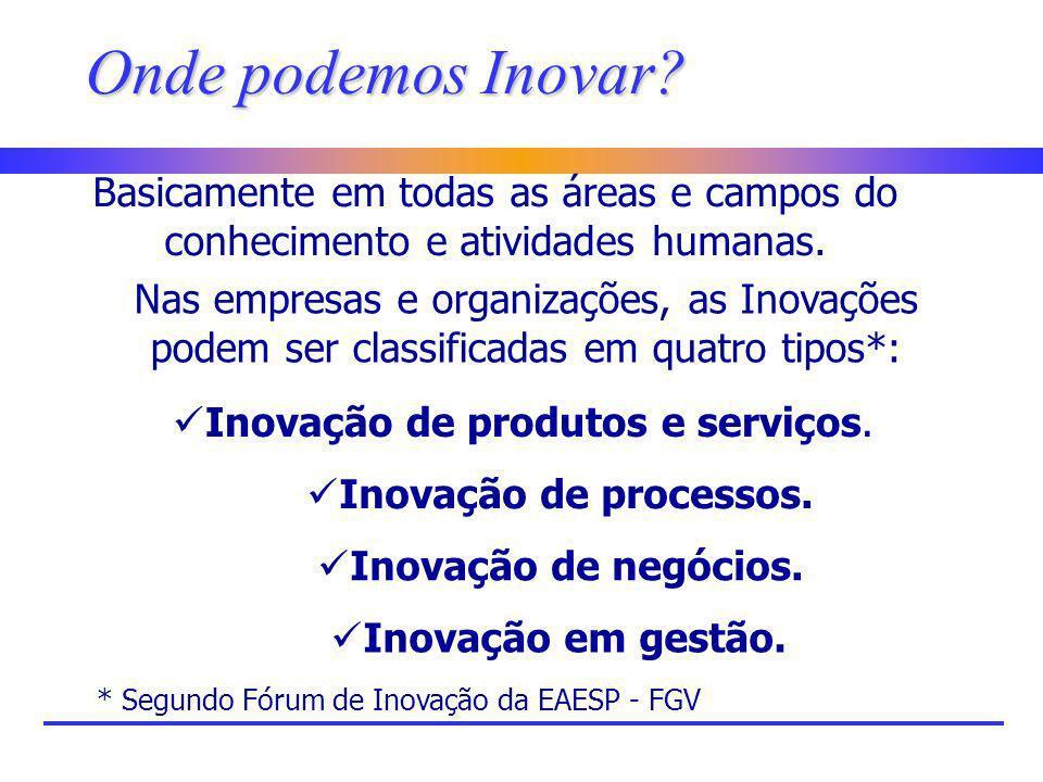 Onde podemos Inovar? Basicamente em todas as áreas e campos do conhecimento e atividades humanas. Nas empresas e organizações, as Inovações podem ser