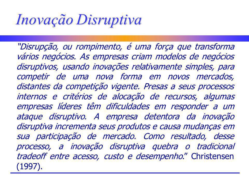 Inovação Disruptiva Disrupção, ou rompimento, é uma força que transforma vários negócios. As empresas criam modelos de negócios disruptivos, usando in