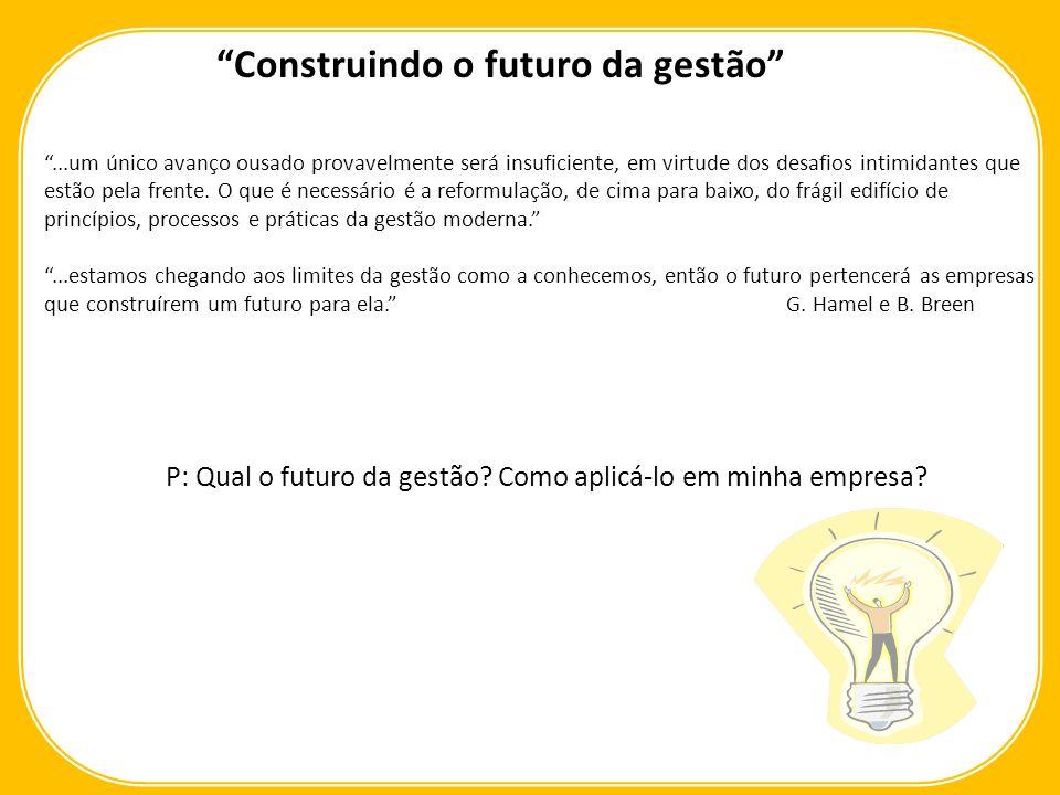 Elementos Essenciais: Coragem para liderar Uma conversa inevitável Foco nas causas, não nos sintomas Responsabilização Permissão para modificar Trabalhando do futuro para o presente Gestão 2.0 Construindo o futuro da gestão
