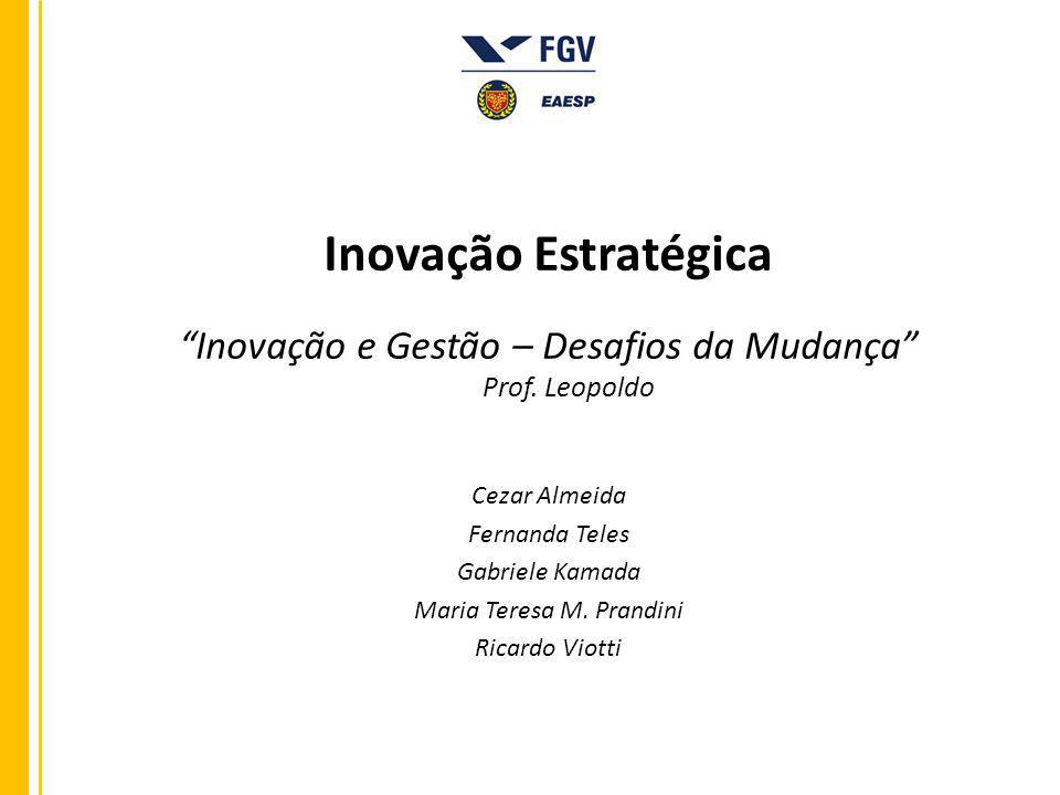 Inovação Estratégica Inovação e Gestão – Desafios da Mudança Prof. Leopoldo Cezar Almeida Fernanda Teles Gabriele Kamada Maria Teresa M. Prandini Rica