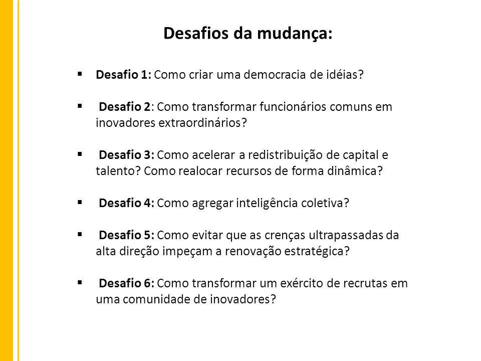 Desafio 1: Como criar uma democracia de idéias? Desafio 2: Como transformar funcionários comuns em inovadores extraordinários? Desafio 3: Como acelera