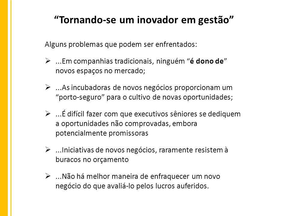 Tornando-se um inovador em gestão Alguns problemas que podem ser enfrentados:...Em companhias tradicionais, ninguém é dono de novos espaços no mercado