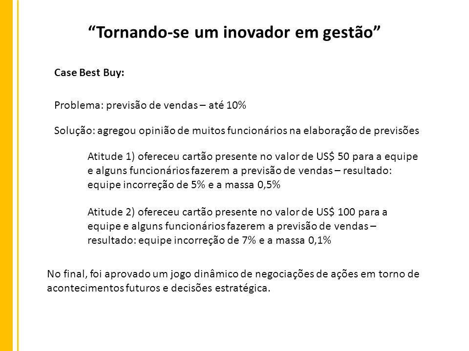 Case Best Buy: Tornando-se um inovador em gestão Problema: previsão de vendas – até 10% Solução: agregou opinião de muitos funcionários na elaboração