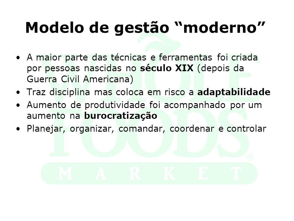 Modelo de gestão moderno A maior parte das técnicas e ferramentas foi criada por pessoas nascidas no século XIX (depois da Guerra Civil Americana) Tra