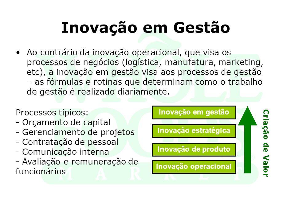 Inovação em Gestão Ao contrário da inovação operacional, que visa os processos de negócios (logística, manufatura, marketing, etc), a inovação em gest