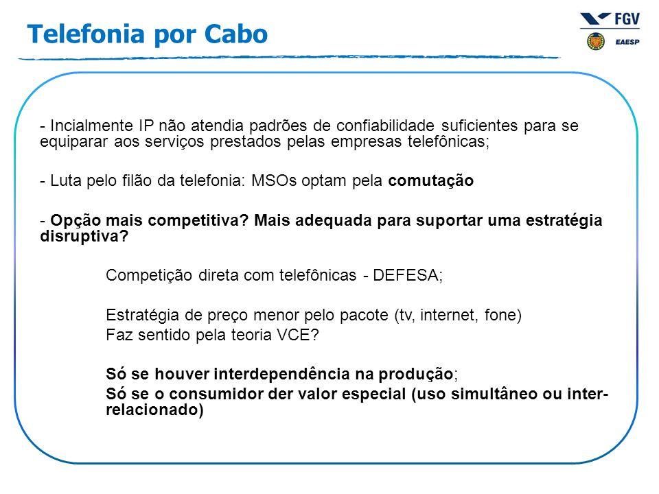 - Incialmente IP não atendia padrões de confiabilidade suficientes para se equiparar aos serviços prestados pelas empresas telefônicas; - Luta pelo filão da telefonia: MSOs optam pela comutação - Opção mais competitiva.