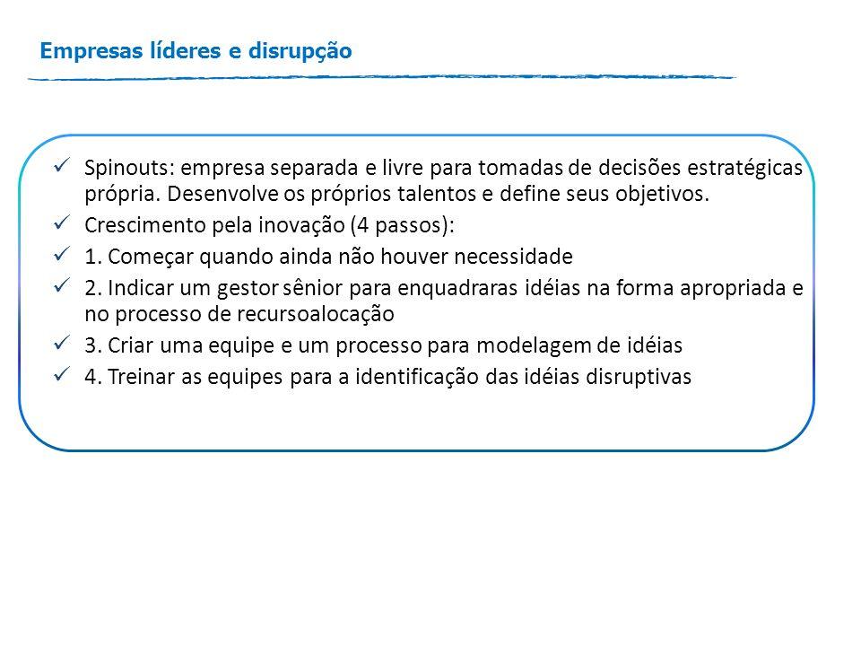 Empresas líderes e disrupção Spinouts: empresa separada e livre para tomadas de decisões estratégicas própria.