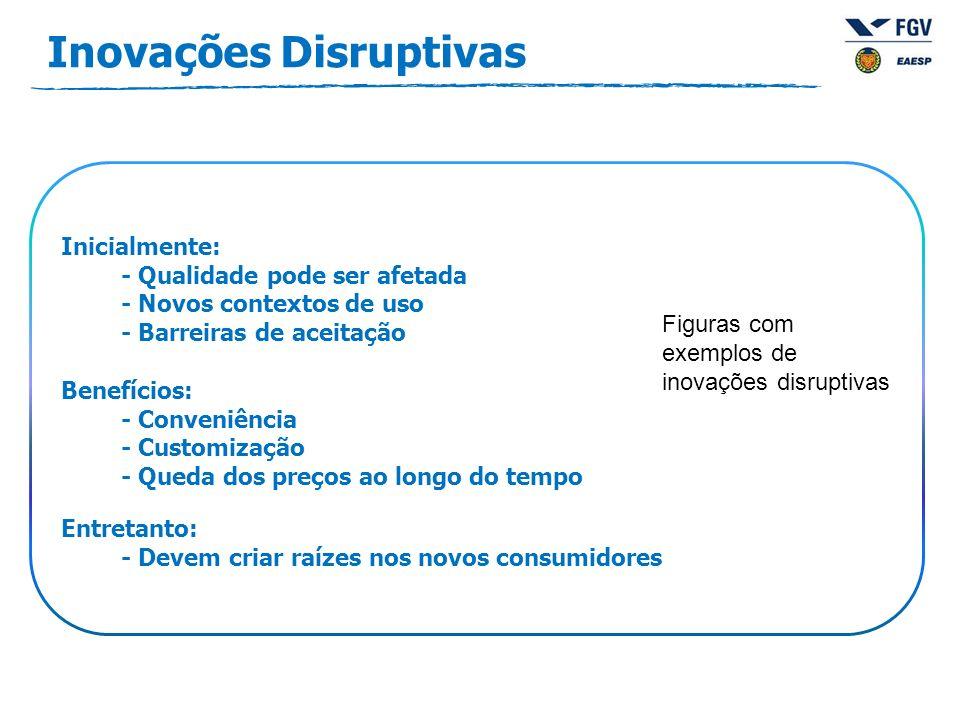 Inicialmente: - Qualidade pode ser afetada - Novos contextos de uso - Barreiras de aceitação Benefícios: - Conveniência - Customização - Queda dos preços ao longo do tempo Entretanto: - Devem criar raízes nos novos consumidores Inovações Disruptivas Figuras com exemplos de inovações disruptivas