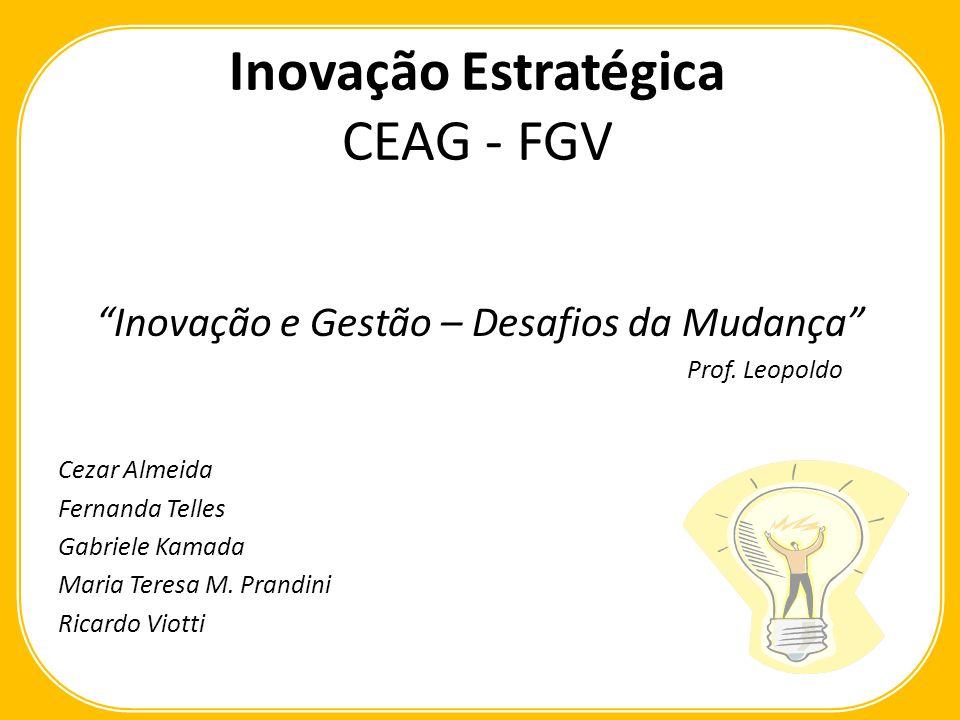 Inovação Estratégica CEAG - FGV Inovação e Gestão – Desafios da Mudança Prof.
