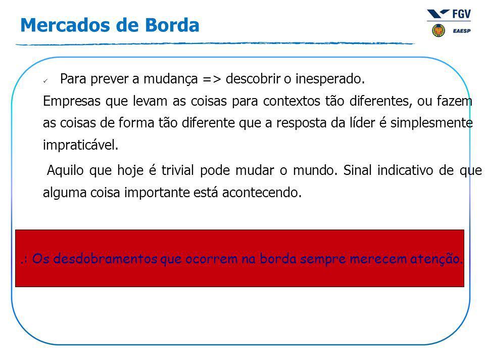 Mercados de Borda Para prever a mudança => descobrir o inesperado.