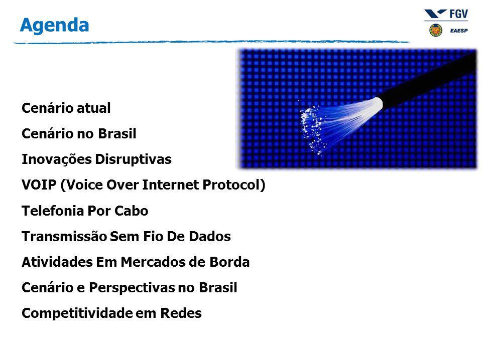 Agenda Cenário atual Cenário no Brasil Inovações Disruptivas VOIP (Voice Over Internet Protocol) Telefonia Por Cabo Transmissão Sem Fio De Dados Atividades Em Mercados de Borda Cenário e Perspectivas no Brasil Competitividade em Redes
