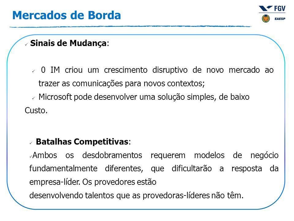 Mercados de Borda Batalhas Competitivas: Ambos os desdobramentos requerem modelos de negócio fundamentalmente diferentes, que dificultarão a resposta da empresa-líder.
