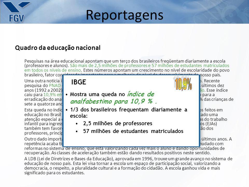 Quadro da educação nacional Pesquisas na área educacional apontam que um terço dos brasileiros freqüentam diariamente a escola (professores e alunos).