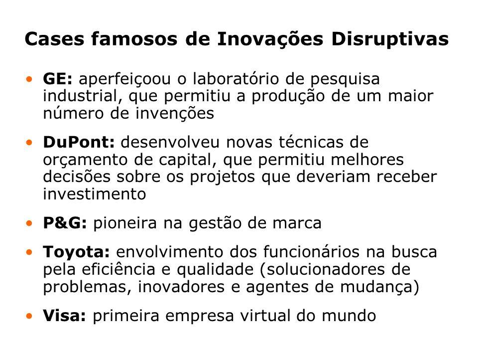 Cases famosos de Inovações Disruptivas GE: aperfeiçoou o laboratório de pesquisa industrial, que permitiu a produção de um maior número de invenções D