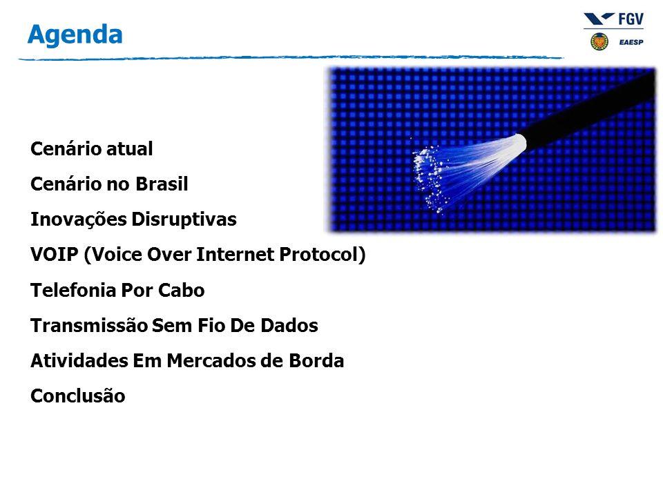 Agenda Cenário atual Cenário no Brasil Inovações Disruptivas VOIP (Voice Over Internet Protocol) Telefonia Por Cabo Transmissão Sem Fio De Dados Atividades Em Mercados de Borda Conclusão