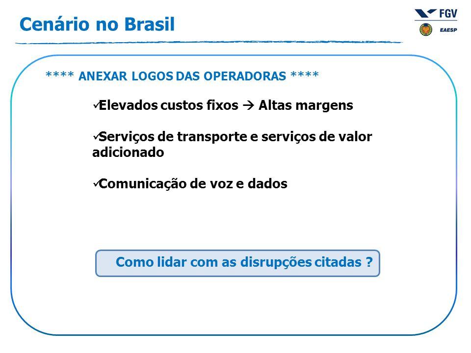 Cenário no Brasil **** ANEXAR LOGOS DAS OPERADORAS **** Elevados custos fixos Altas margens Serviços de transporte e serviços de valor adicionado Comunicação de voz e dados Como lidar com as disrupções citadas