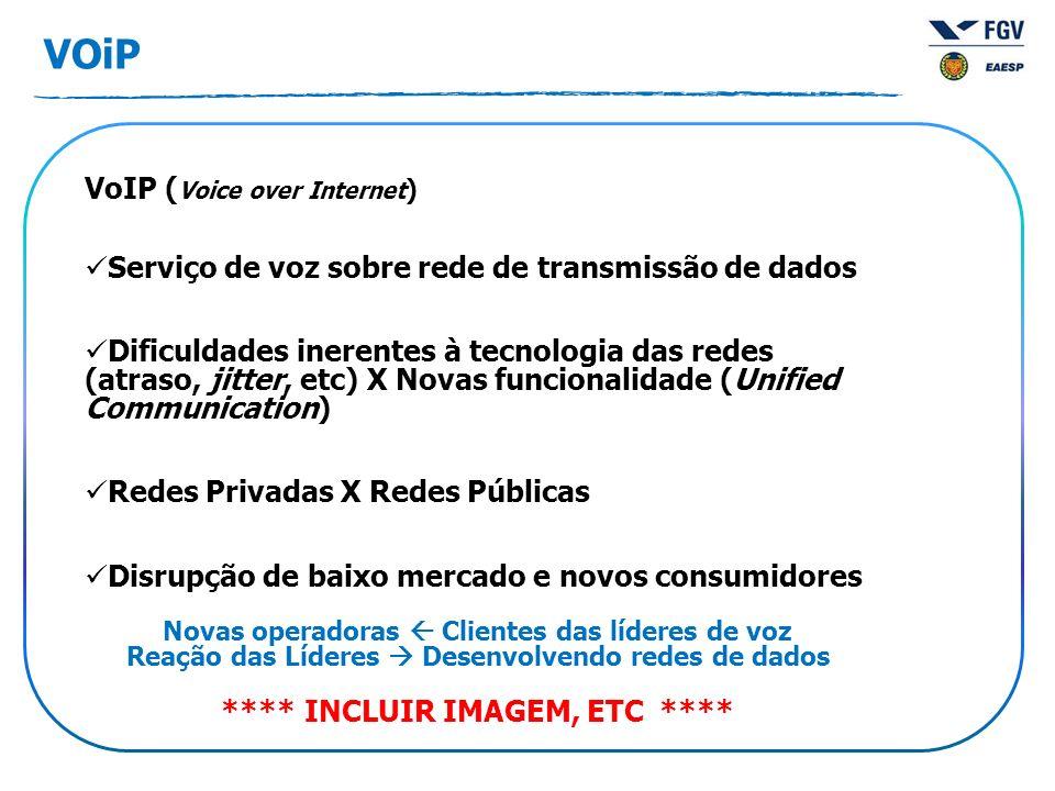 VOiP VoIP ( Voice over Internet ) Serviço de voz sobre rede de transmissão de dados Dificuldades inerentes à tecnologia das redes (atraso, jitter, etc) X Novas funcionalidade (Unified Communication) Redes Privadas X Redes Públicas Disrupção de baixo mercado e novos consumidores Novas operadoras Clientes das líderes de voz Reação das Líderes Desenvolvendo redes de dados **** INCLUIR IMAGEM, ETC ****