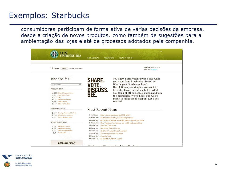 7 Exemplos: Starbucks consumidores participam de forma ativa de várias decisões da empresa, desde a criação de novos produtos, como também de sugestões para a ambientação das lojas e até de processos adotados pela companhia.