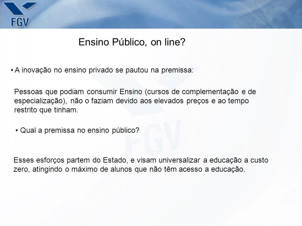 Ensino Público, on line? A inovação no ensino privado se pautou na premissa: Pessoas que podiam consumir Ensino (cursos de complementação e de especia