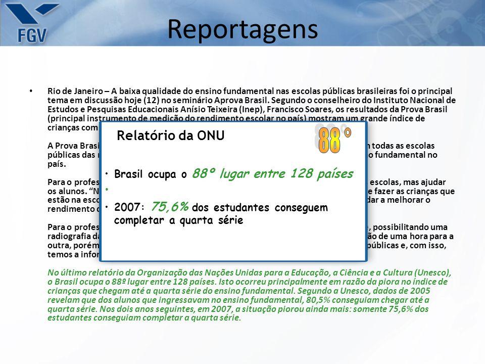 Reportagens Rio de Janeiro – A baixa qualidade do ensino fundamental nas escolas públicas brasileiras foi o principal tema em discussão hoje (12) no seminário Aprova Brasil.