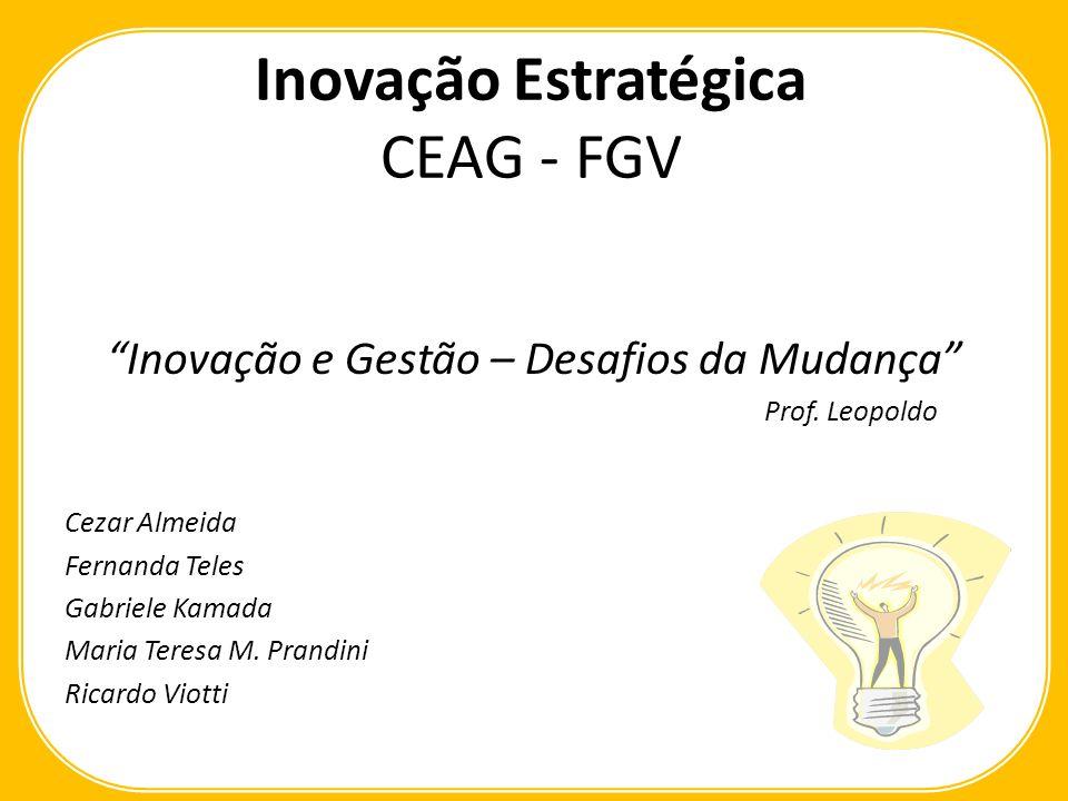 Inovação Estratégica CEAG - FGV Inovação e Gestão – Desafios da Mudança Prof. Leopoldo Cezar Almeida Fernanda Teles Gabriele Kamada Maria Teresa M. Pr