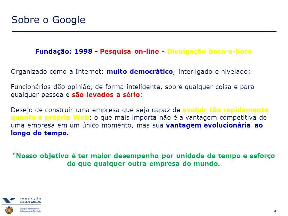 4 Sobre o Google Fundação: 1998 - Pesquisa on-line - Divulgação boca-a-boca Organizado como a Internet: muito democrático, interligado e nivelado; Fun