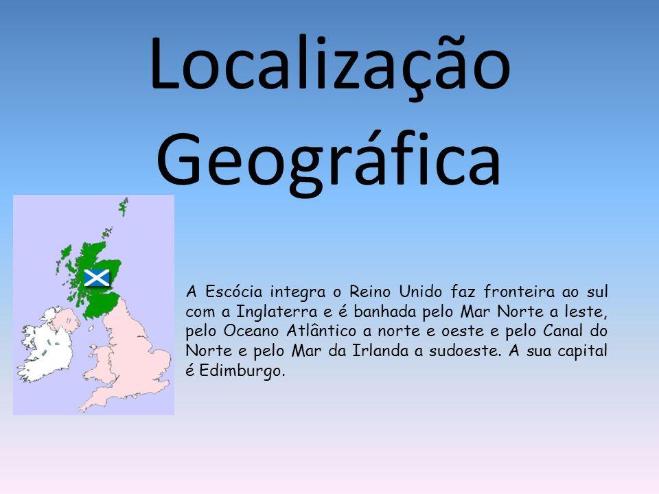 Localização Geográfica A Escócia integra o Reino Unido faz fronteira ao sul com a Inglaterra e é banhada pelo Mar Norte a leste, pelo Oceano Atlântico