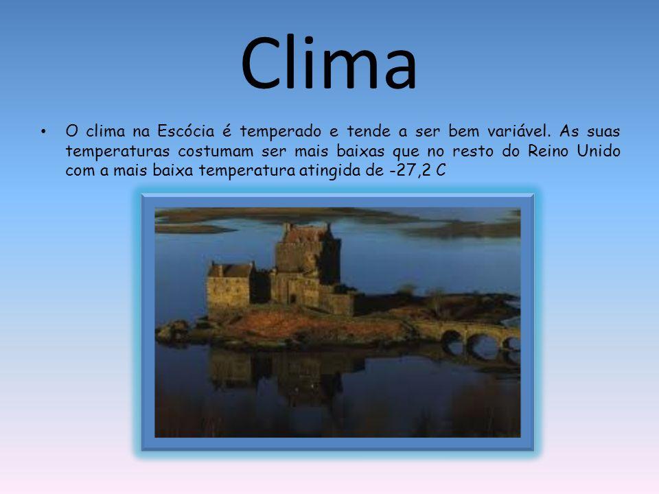 Clima O clima na Escócia é temperado e tende a ser bem variável. As suas temperaturas costumam ser mais baixas que no resto do Reino Unido com a mais