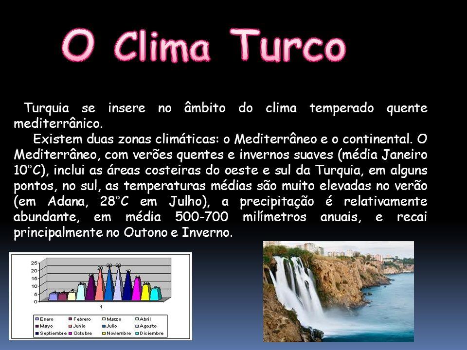 Turquia se insere no âmbito do clima temperado quente mediterrânico. Existem duas zonas climáticas: o Mediterrâneo e o continental. O Mediterrâneo, co