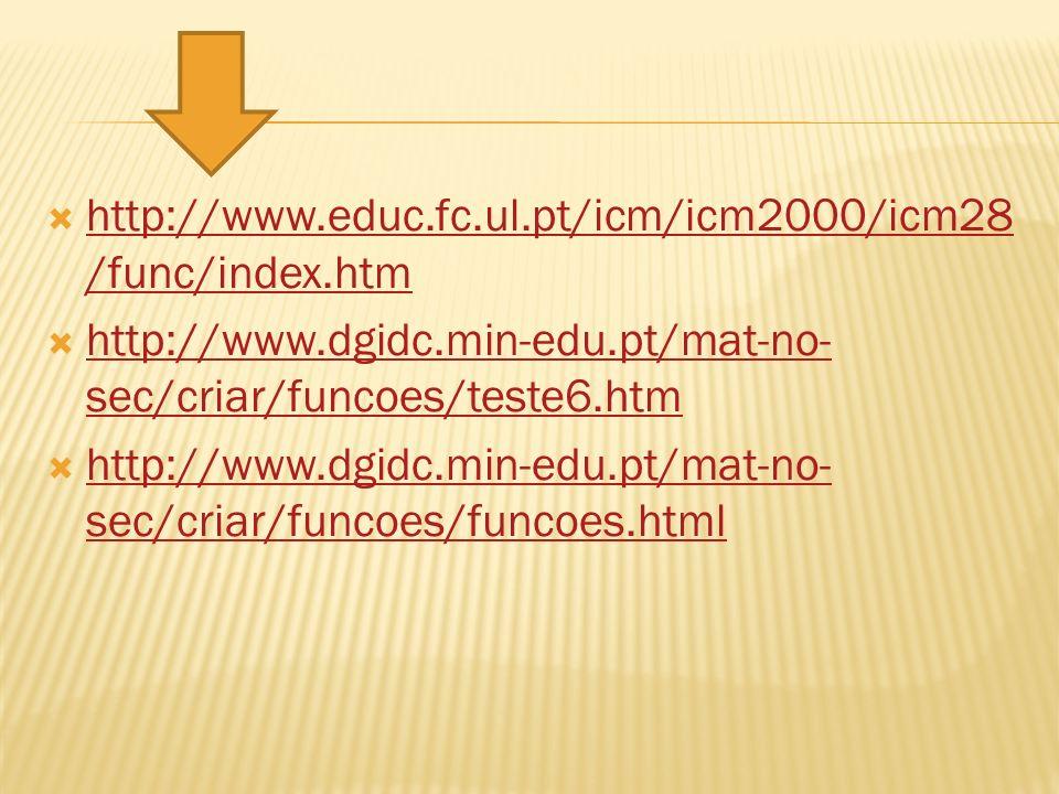 http://www.educ.fc.ul.pt/icm/icm2000/icm28 /func/index.htm http://www.educ.fc.ul.pt/icm/icm2000/icm28 /func/index.htm http://www.dgidc.min-edu.pt/mat-no- sec/criar/funcoes/teste6.htm http://www.dgidc.min-edu.pt/mat-no- sec/criar/funcoes/teste6.htm http://www.dgidc.min-edu.pt/mat-no- sec/criar/funcoes/funcoes.html http://www.dgidc.min-edu.pt/mat-no- sec/criar/funcoes/funcoes.html