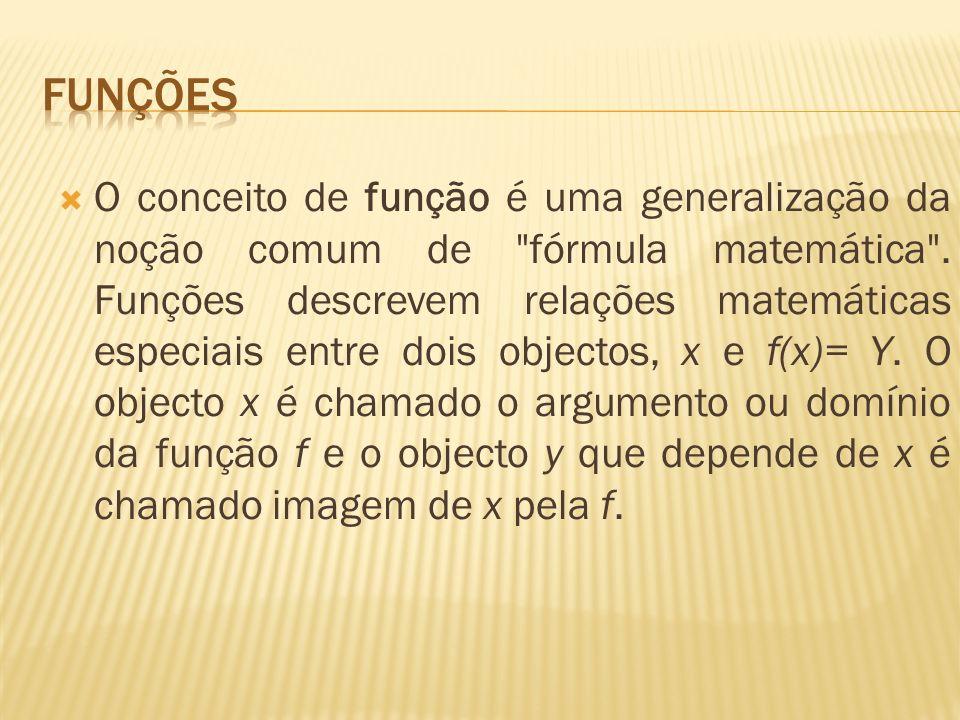 O conceito de função é uma generalização da noção comum de fórmula matemática .