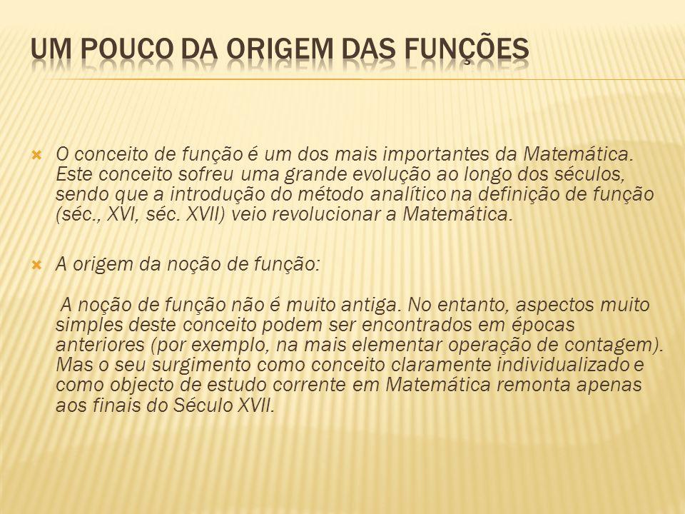 O conceito de função é um dos mais importantes da Matemática.