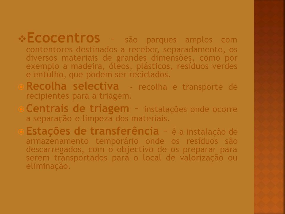 Ecocentros – são parques amplos com contentores destinados a receber, separadamente, os diversos materiais de grandes dimensões, como por exemplo a ma