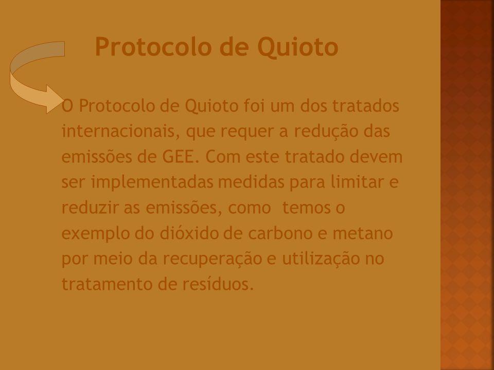 O Protocolo de Quioto foi um dos tratados internacionais, que requer a redução das emissões de GEE. Com este tratado devem ser implementadas medidas p
